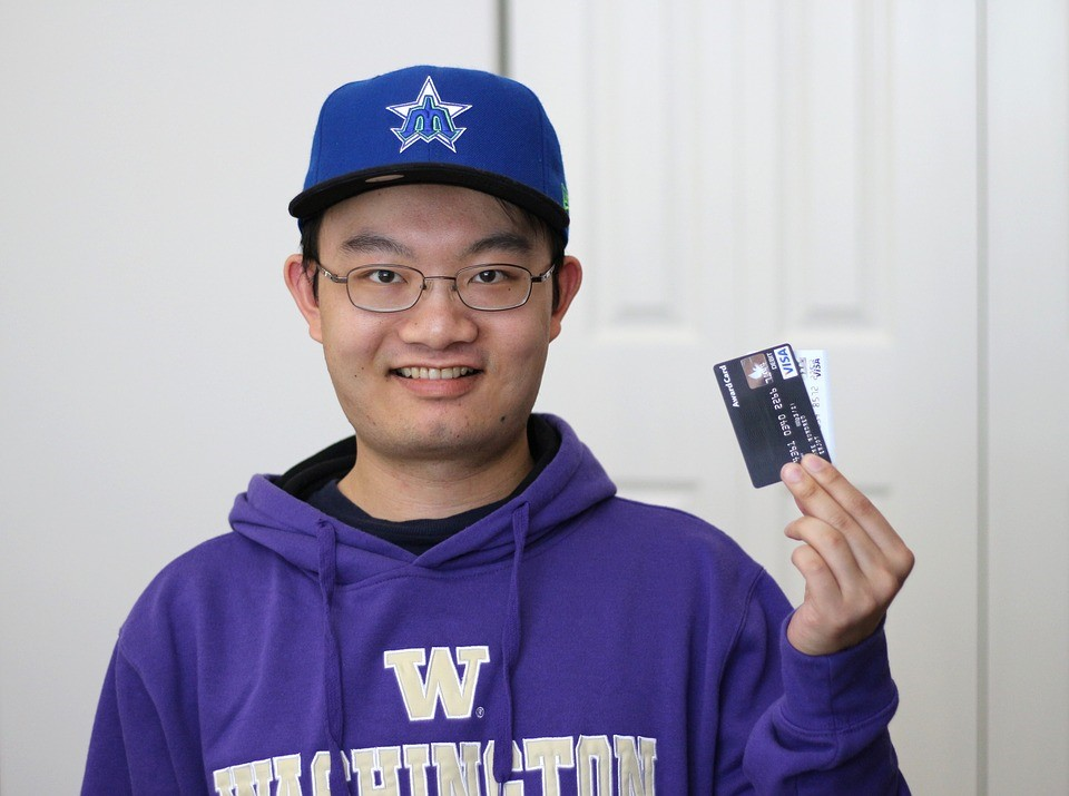 Student with credit cards