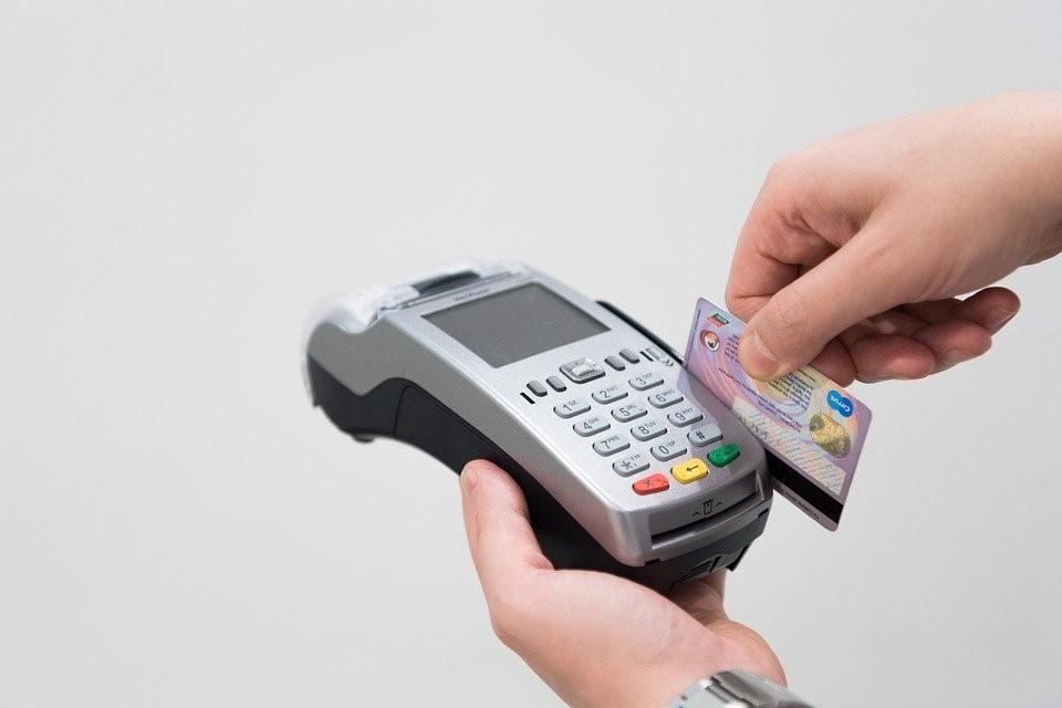 Swiping card on machine