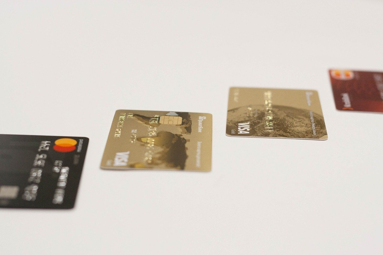 Various credit cards with bank account