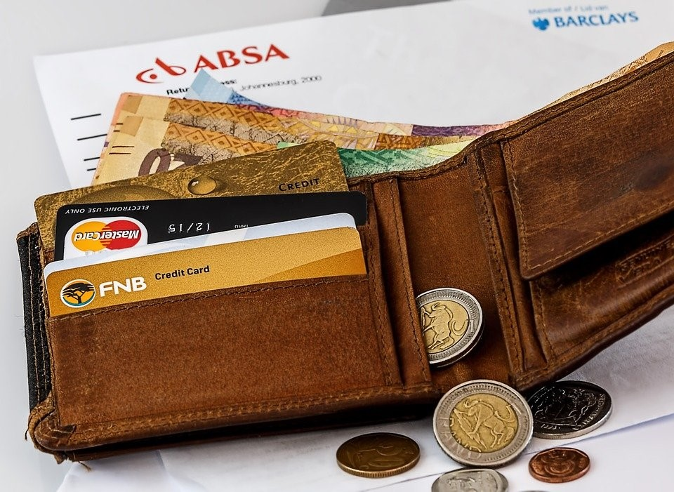 Wallet with credit cards and coins